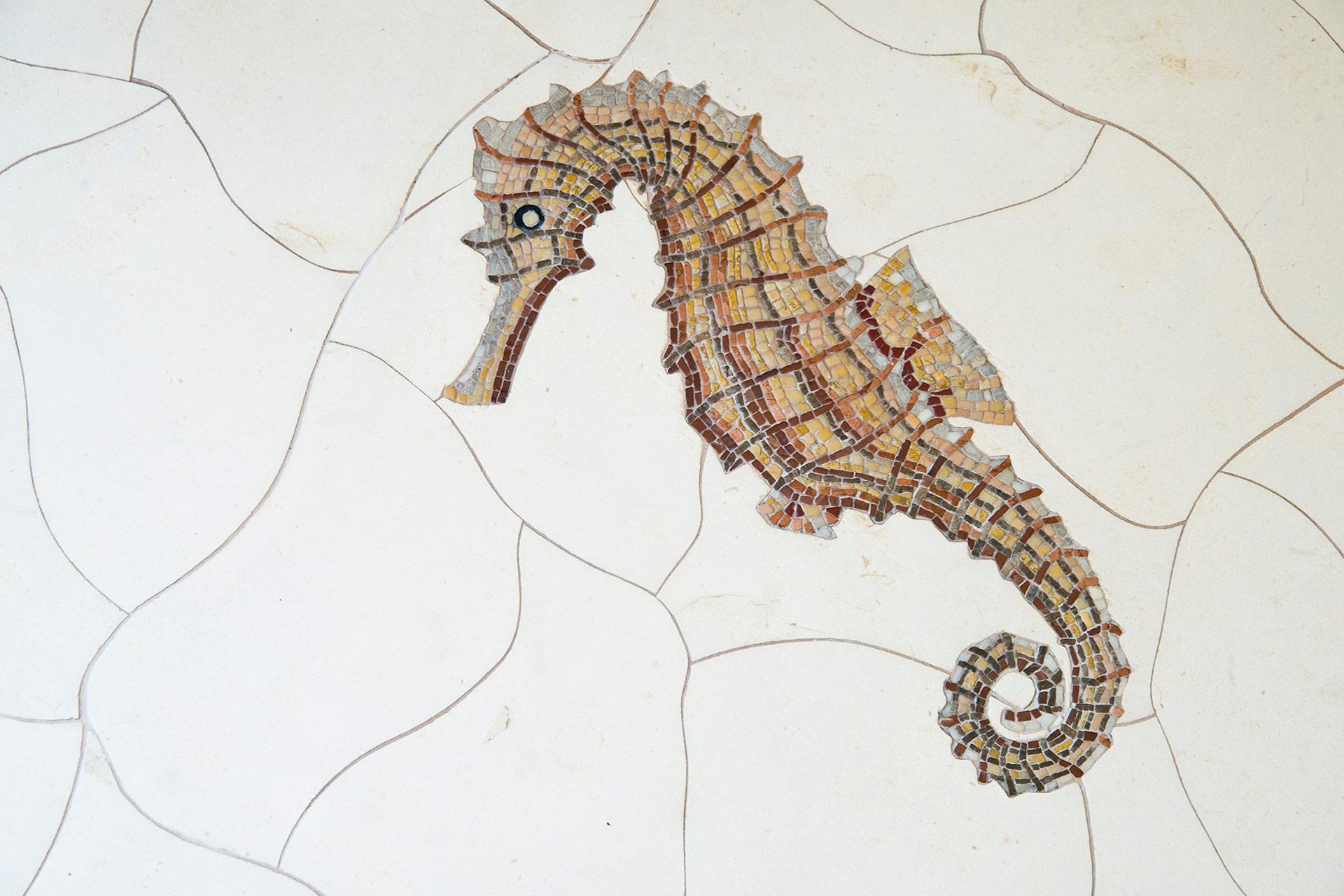 Mosaik Marmor vivante Entwurf Luxusbad Seepferdchen