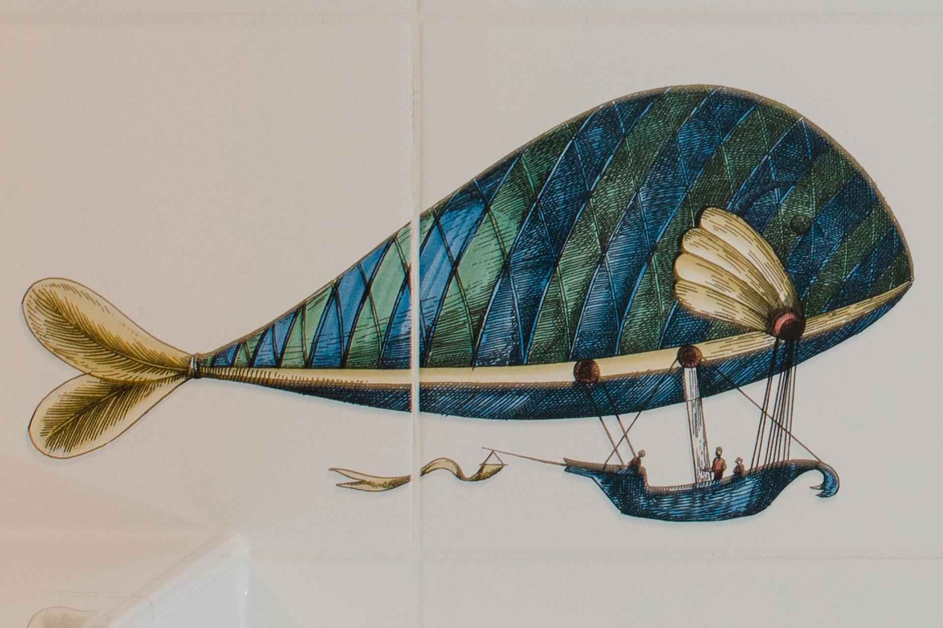 Fliesendesign nach Fornasetti Montgolfiere